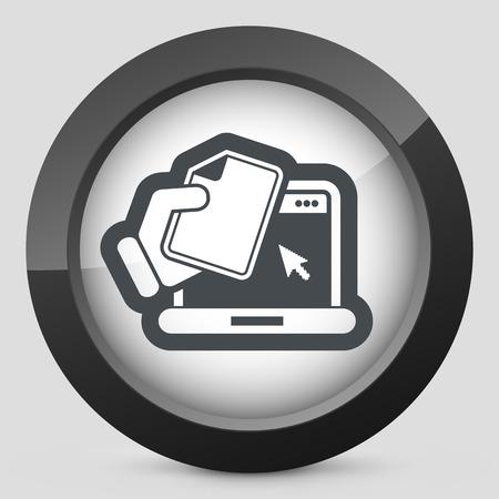 doctor holding gift: Laptop document icon Illustration