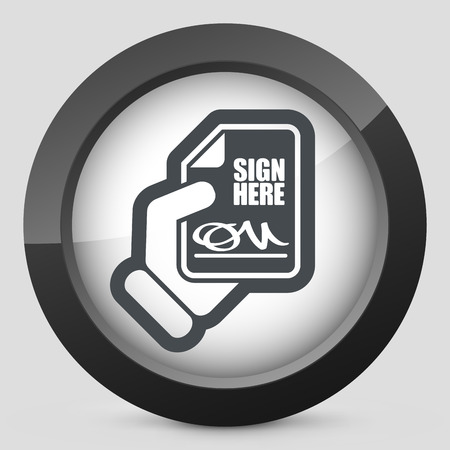 Sign on document icon Stock Vector - 28284831