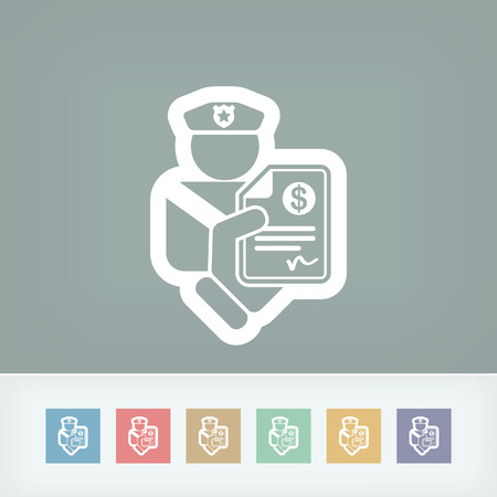 traffic violation: Policeman fine icon Illustration