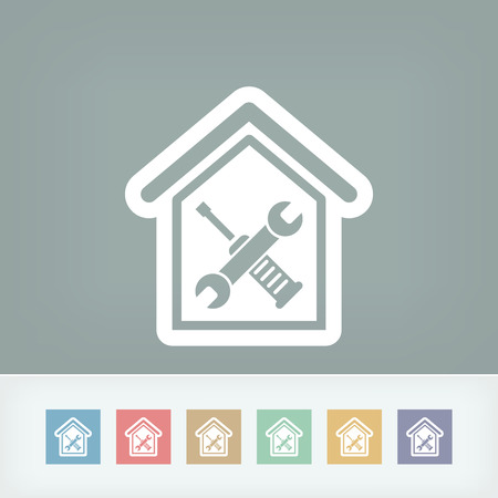 empleada domestica: Icono de reparaciones en el hogar
