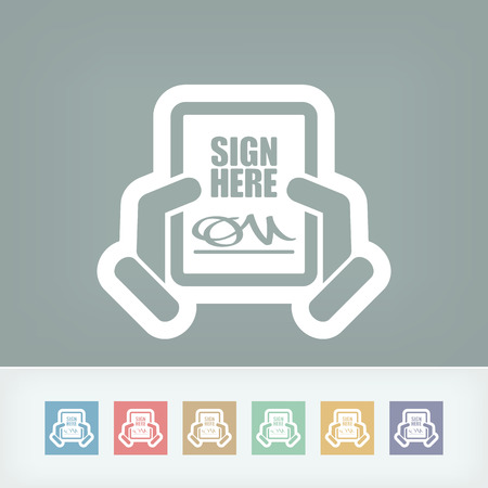 Sign on document icon Stock Vector - 28337249