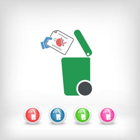 salumi affettati: Separata icona raccolta dei rifiuti Vettoriali