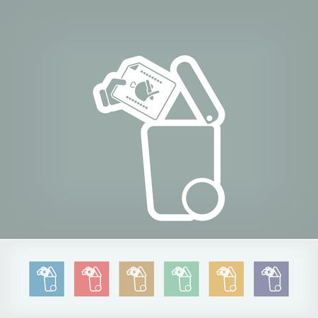fiambres: Separe icono de recogida de residuos Vectores