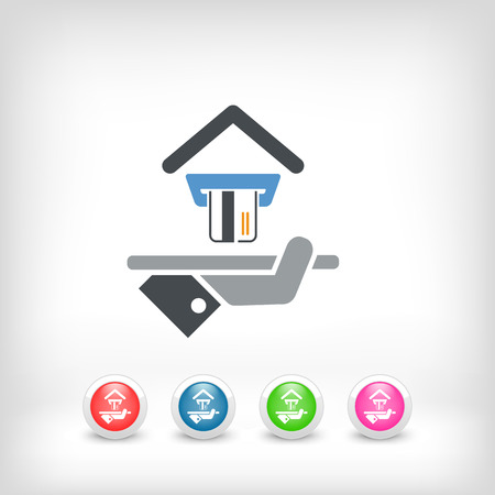 apartment suite: Hotel icon. Credit cards accepted. Illustration