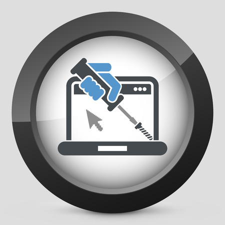 and assistance: Computer assistance icon Illustration