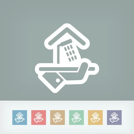 apartment suite: Hotel icon. Shower. Illustration