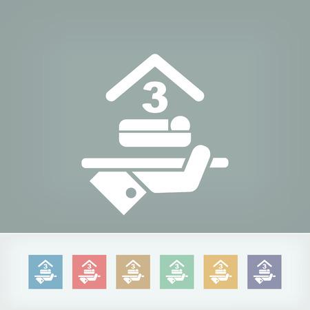 triple: Hotel icon. Triple bedroom.