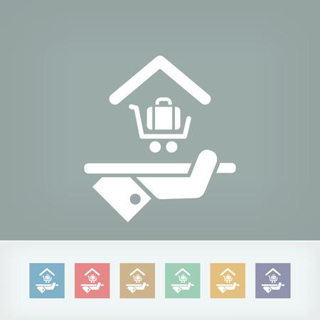 apartment suite: Hotel icon. Baggage service. Illustration