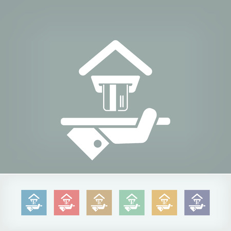bankcard: Hotel icon. Credit cards accepted. Illustration