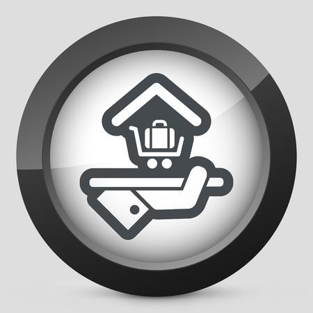porter house: Hotel icon. Baggage service. Illustration