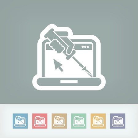 computer repair concept: Computer assistance icon Illustration