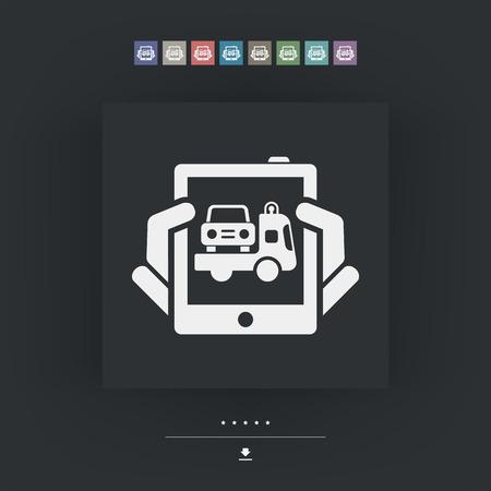 roadside assistance: Car assistance icon Illustration