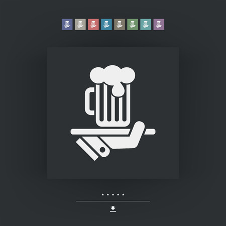 Waiter serving beer icon