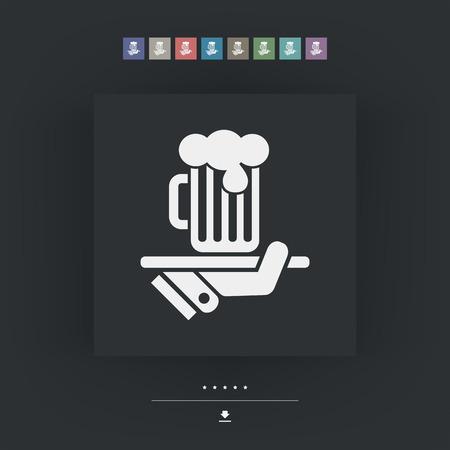 waiter serving: Waiter serving beer icon