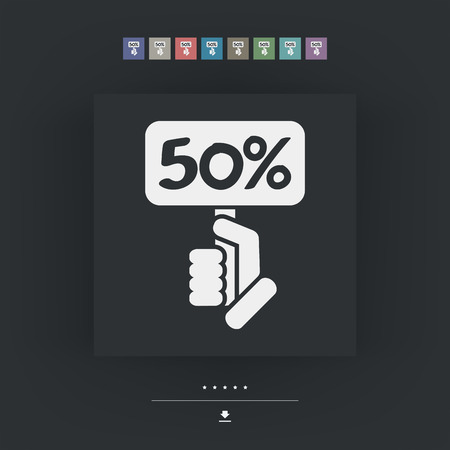 halved: Discount label icon Illustration