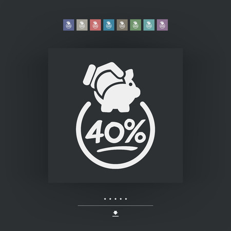 40: 40% Discount label icon Illustration