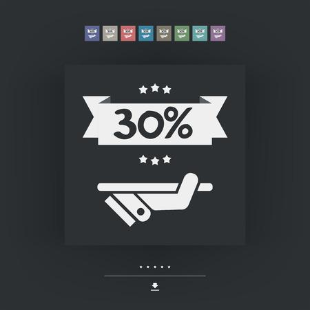 30: 30% Label icon