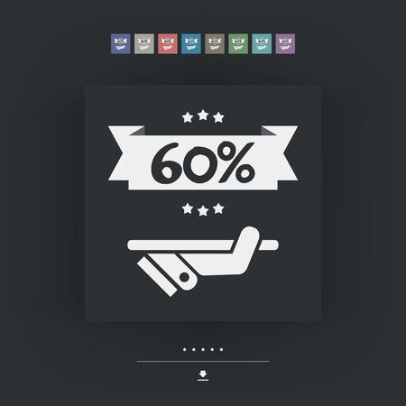 60: 60% Label icon Illustration