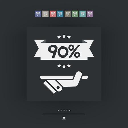 90: 90% Label icon