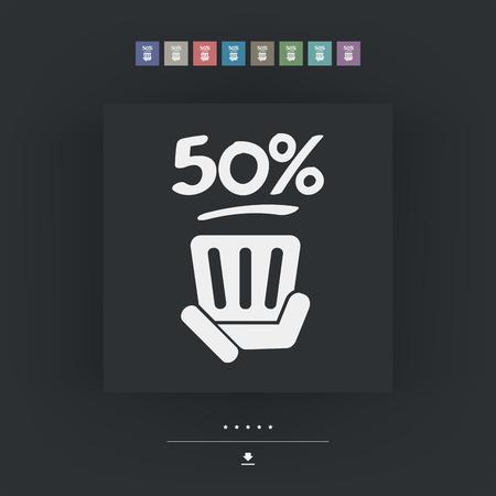50: 50% label Illustration