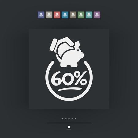 60: 60% Discount label icon