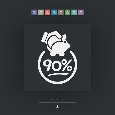 90: 90% Discount label icon Illustration