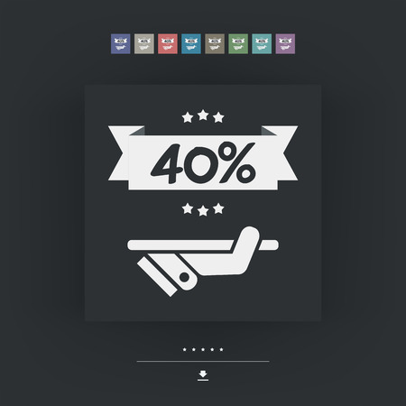 40: 40% Label icon