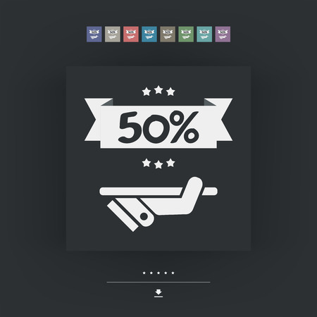 50: 50% Label icon