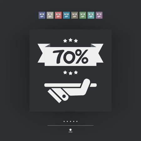 70: 70% Label icon
