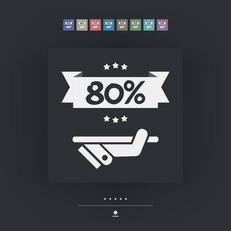 80: 80% Label icon Illustration