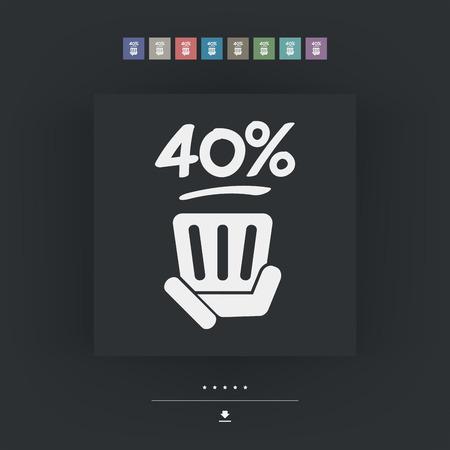 40: 40% label