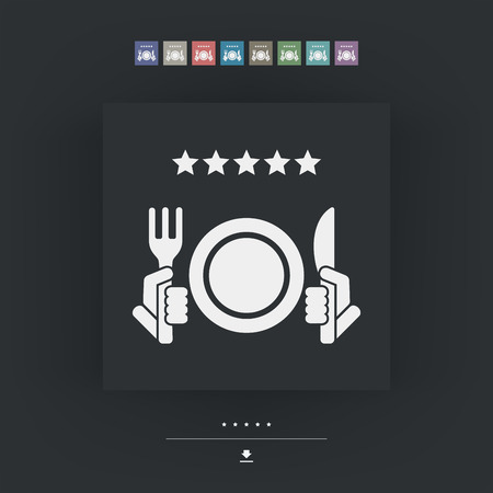 restaurant rating: Restaurant icon. Top rating. Illustration
