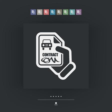 possession: Car contract icon Illustration