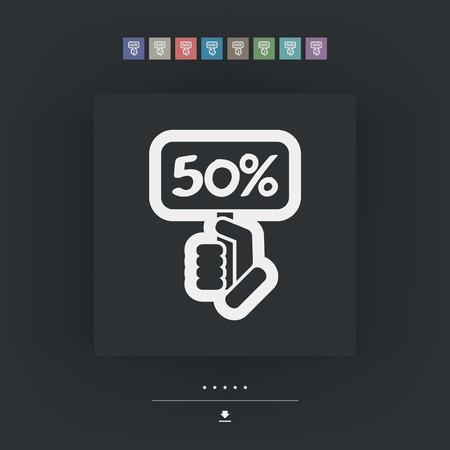 halved: Discount label icon Illustration