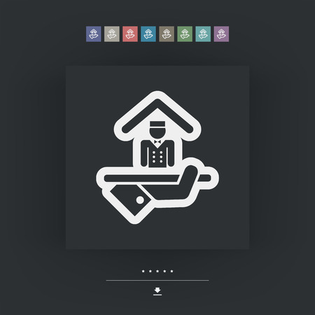 apartment suite: Hotel icon. Porter service. Illustration
