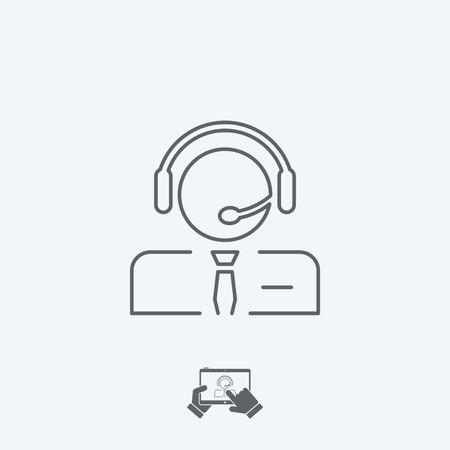 handsfree telephone: Call center icon - Thin series Illustration