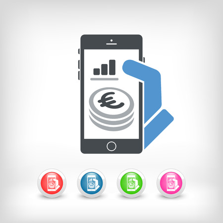 bank records: Financial application on smartphone - Euro Illustration