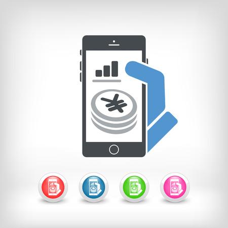 remuneraci�n: Aplicaci�n financiera en el tel�fono inteligente - Yen Vectores