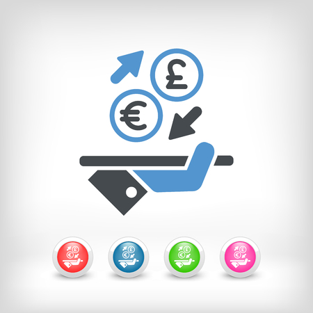 foreign currency: EuroSterling - Foreign currency exchange icon Illustration