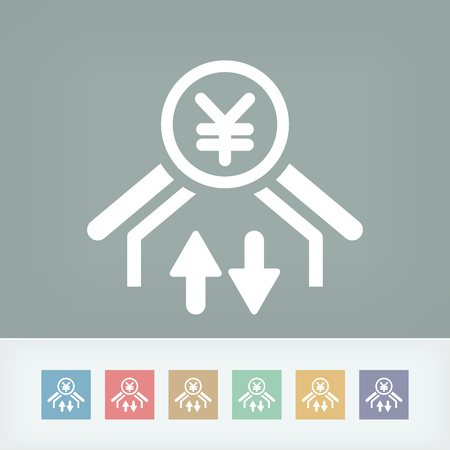 stock exchange brokers: Money transfer icon - Yuan Illustration