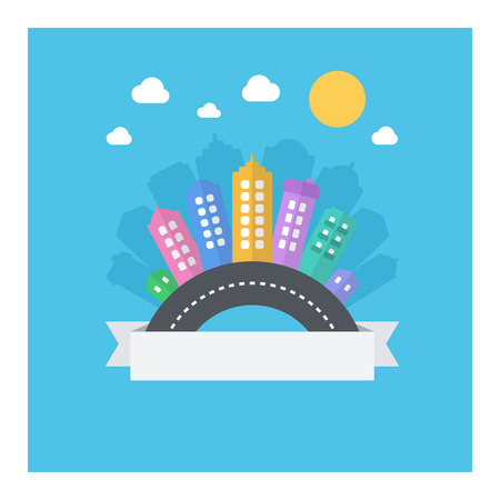 text area: Vector design of modern cityscape with text area. Illustration with modern flat icons: road, buildings, sky.