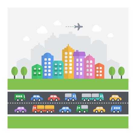 혼란스러운 도시의 벡터 일러스트 레이 션. 차량, 건물 및 주택의 평면 현대 아이콘. 일러스트