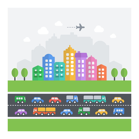 Vector illustration of chaotic cityscape. Flat modern icons of vehicles, buildings and homes.