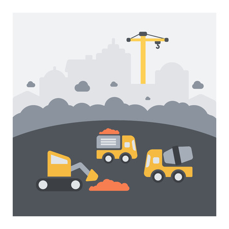 Urban landscape of urban construction work. Flat icons, dust and vehicles in action.