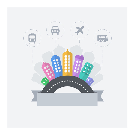 urban area: Smart city. Vector design of modern smart cityscape with text area and urban transport icons.