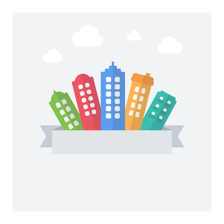 area: Vector flat illustration of modern cityscape with text area. Illustration