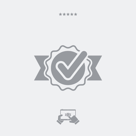 ribon: Checking quality symbol icon Illustration