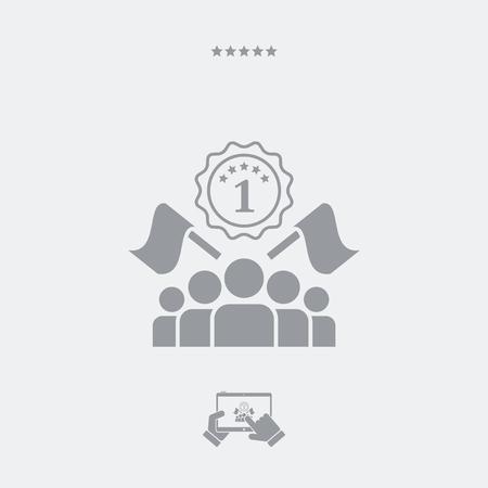 el ganador del concurso icono plana Ilustración de vector