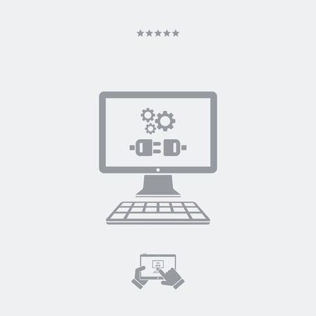 website window: Plug connection flat icon Illustration