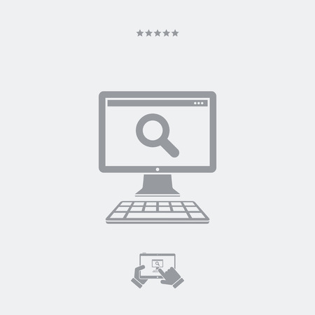 pc: Search pc flat icon Illustration